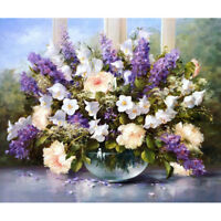 Paint By Numbers - DIY acrylic Painting Picture Art - Vase of Purple Flowers