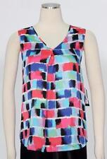 Nine West Aqua Black Multi Silky Cami Blouse Size M Women's New*