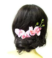 Light Pink Long Orchid Flower Hair Comb Fascinator Headpiece Rockabilly Vtg 1275