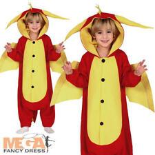 Red Dragon Kids Fancy Dress Fantasy Animal Boys Girls Halloween Book Day Costume