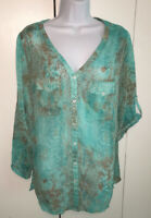 Mushka by Sienna Rose Green Snake Print 3/4 Roll Tab Sleeve Top Tunic Sz L EUC