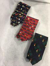 Lot of 3 Golf-themed Colorful Ties ~ 100% Silk ~ By ALYNN NECKWEAR
