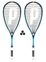 2 x Prince Textreme Pro Shark PowerBite 650 Squash Rackets 3 Balls RRP £250