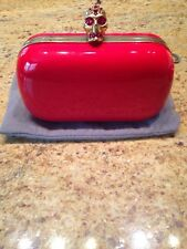 ALEXANDER McQUEEN STUNNING RED PATENT LEATHER SCULL CLUTCH
