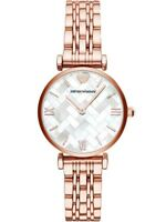Emporio Armani White Mother of Pearl Dial Rose Gold Tone Ladies Watch AR11110