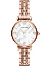 NEEmporio Armani Women's White Mother of Pearl Dial Rose Gold Tone Watch AR11110