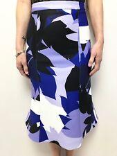 1860ab80efc KOOKAI purple white blue leaf pattern fit flare fish tail skirt 34 (6)  stretch
