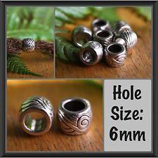 10 Tibetan Style Silver Dreadlock Beads 6mm 1/4' Hole Dread Hair Beads
