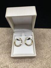 10K Yellow Gold Earrings Hoops 17mm Pave CZ Zirconia Gemstone in original box