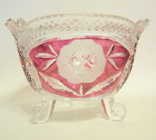 Vintage Hofbauer Floral Candy Bowl 4 Inches Crystal Footed Red and Clear