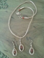Carnelian and non-tarnish copper necklace and earrings set