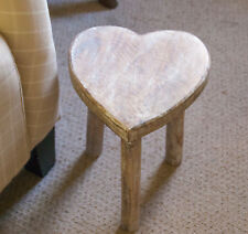 Wooden Heart Stool / Side Table Sass and Belle Mango Wood Shabby Chic 39cm