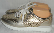 AIRFLEX Gold Mixed Material Perforated Athletic Shoes (Size 9)