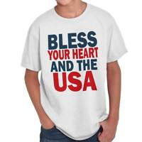 Bless Your Heart USA American United States Girls Youth T-Shirts Tees Tshirts