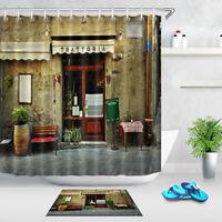 "Old Italian Restaurant Shower Curtain Set Bathroom Waterproof Fabric & Hooks 72"""