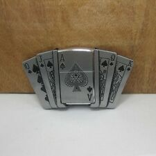 Mens Removable Poker Pattern Belt Buckle With Refillable Lighter Zinc Alloy