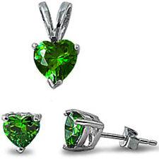 Green Emerald Heart .925 Sterling Silver Earrings & Pendant Set