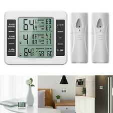 Wireless Digital Thermometer Indoor Refrigerator Freezer Audible Alarm w/ Sensor