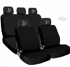 New 4X Car Live Laugh Love Logo Headrest and Black Cloth Seat Covers For BMW