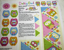 Fabric Panel Daisy Owl Growth Chart Baby Cotton Sewing Material Quilting Craft