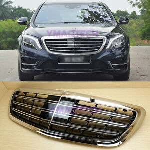 A Look Chrome ABS Front Hood Grille Fit 2014~2020 Mercedes Benz W222 S-Class