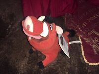 "OFFICIAL DISNEY STORE THE LION KING PUMBA 8"" SOFT TOY PLUSH WITH TAGS"