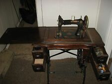 Antique White Foot Pedal  Manual Sewing Machine w/ 4 Drawer Oak Cabinet Old