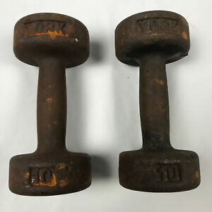 Vintage York 10lb Roundhead Dumbbell Weight Pair Set No USA Stamp