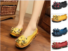Genuine Leather Handmade Flower Loafers Soft Flats Womens Shoes Gift for Mother
