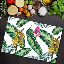Glass Chopping Board Utensil Banana Leaves Tropical Monstera Leaves 80x52