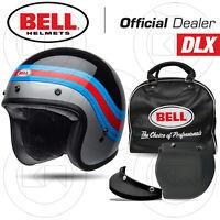 CASCO JET MOTO BELL CUSTOM 500 DLX VINTAGE DELUXE PULSE GLOSS BLACK/BLUE/RED