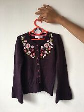 Marks & Spencer Autograph Girls Deep Purple Cardigan 9-10 YEARS Wool With Mohair