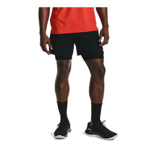 Under Armour Mens Iso-Chill Run 2-In-1 Shorts Pants Trousers Bottoms Black