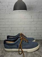 Polo Ralph Lauren Mens Blue Casual Lace Up Canvas Boat Shoes Size 11D