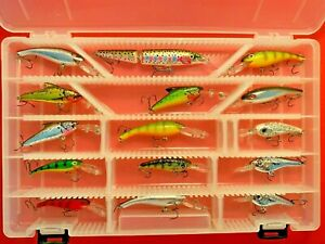 Lot of 15 Cordell and Rapala Fishing Lures in Plano Tackle Organizer Box