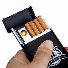 Black Dual Arc USB Electric-Rechargeable Flameless Lighter Box Cigarette Ci E8C6