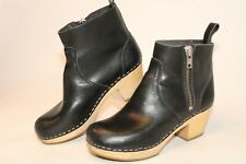 Swedish Hasbeens Womens Size 8 8.5 38 Leather Zip Heeled Clog Ankle Boots