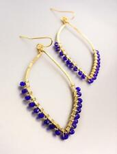 Exquisite Artisanal Gold Sapphire Blue Crystals Tear Drop Earrings B45
