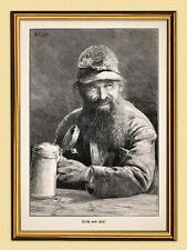 Fresh FROM THE CASK BARREL BEER W. Gause Mug Gams Beard Facsimile 86 in Gold Frame