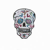 Sequin Skull Embroidery Sew Iron On Patches Badge Bag Clothes Fabric Applique JR