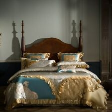 Luxury Silk Cotton Jacquard Palace Bedding Set Quilt Cover  Bed Sheet Queen King
