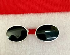 Vtg 1950s Sterling Silver Cufflinks w Large Onyx Stone Excellent Buffed