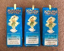 3 KAUAI 100% Hawaiian Coffee Koloa Estate Vanilla Macadamia Nut Coconut Caramel