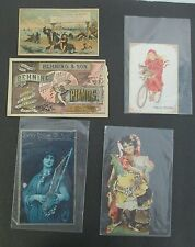 Lot of 5 PIANO & ORGAN Victorian Trade Cards