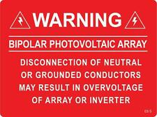 100 ea. Solar Warning Labels - Bipolar Photovoltaic Array
