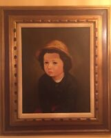 Vintage Girl Portrait, Oil Painting, Italy, Stamped and Signed