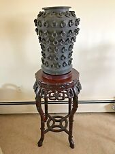 Chinese Rosewood Large Vase Stand, Marble Center, Late 19th Century,