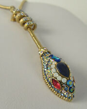 NWT Auth Betsey Johnson 'Betsey Blues' Multicolor Pavé Snake Lariat Necklace