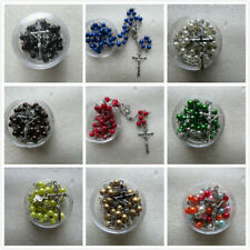 Rosary Bead Necklace Holy Prayer Silver Crucifix & Free Clear Tub 18 Colours