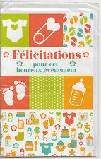Carte Félicitations.Pour cet heureux évènement.Pictogrammes bébé.11 cm x 17 cm.